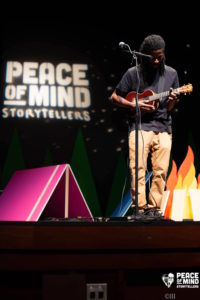 Ukelele musician Eems performing at PeaceLove's storytelling event, 2018 Peace of Mind Storytellers