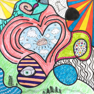 Artwork with pattern and color, with images of a heart, brain, eye, clouds, and trees.