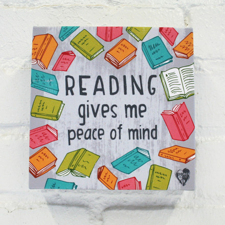 """Reading Gives Me Peace of Mind"" Canvas Print"