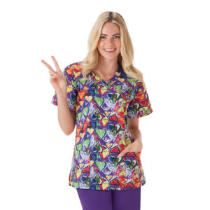 """Hearts"" Mock Wrap Jockey Scrubs Top"