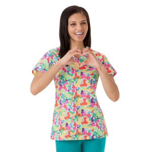 """Splatter"" Crossover Jockey Scrubs Top"